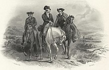 19th century engraving of Washington, Henry and Pendleton riding to First Continental Congress